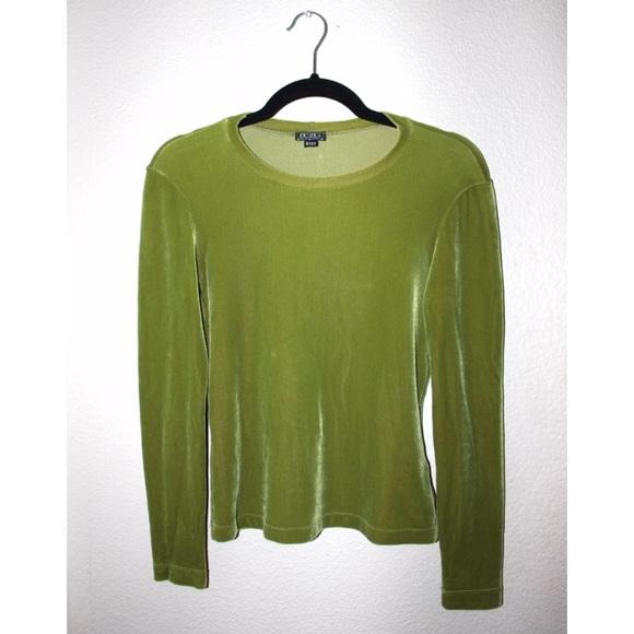 BCBGMaxAzria Tops - BCBG Green Stretch Velvet Long Sleeve Top